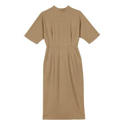 high neck pot dress beige